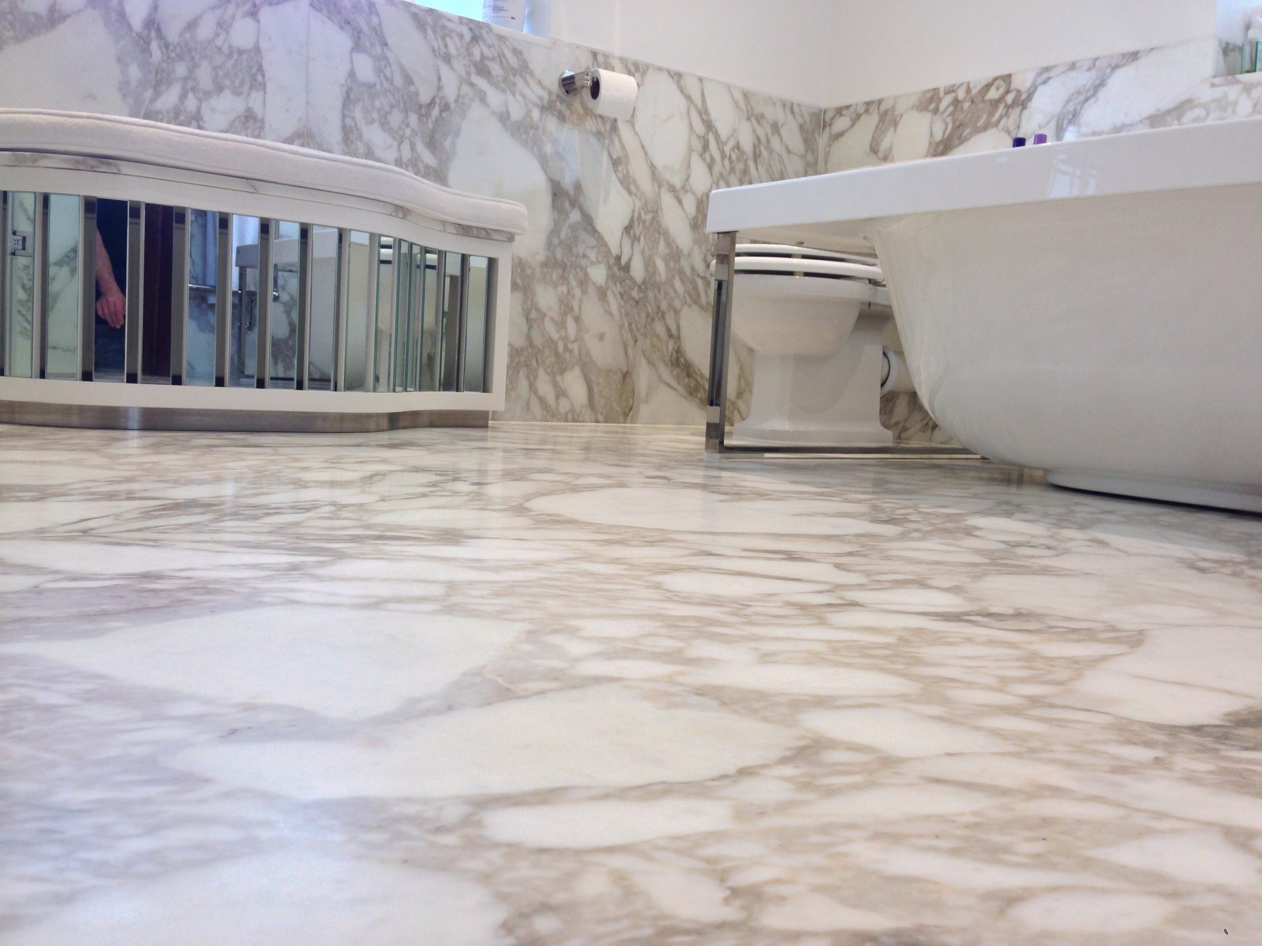 Marble tiled bath room