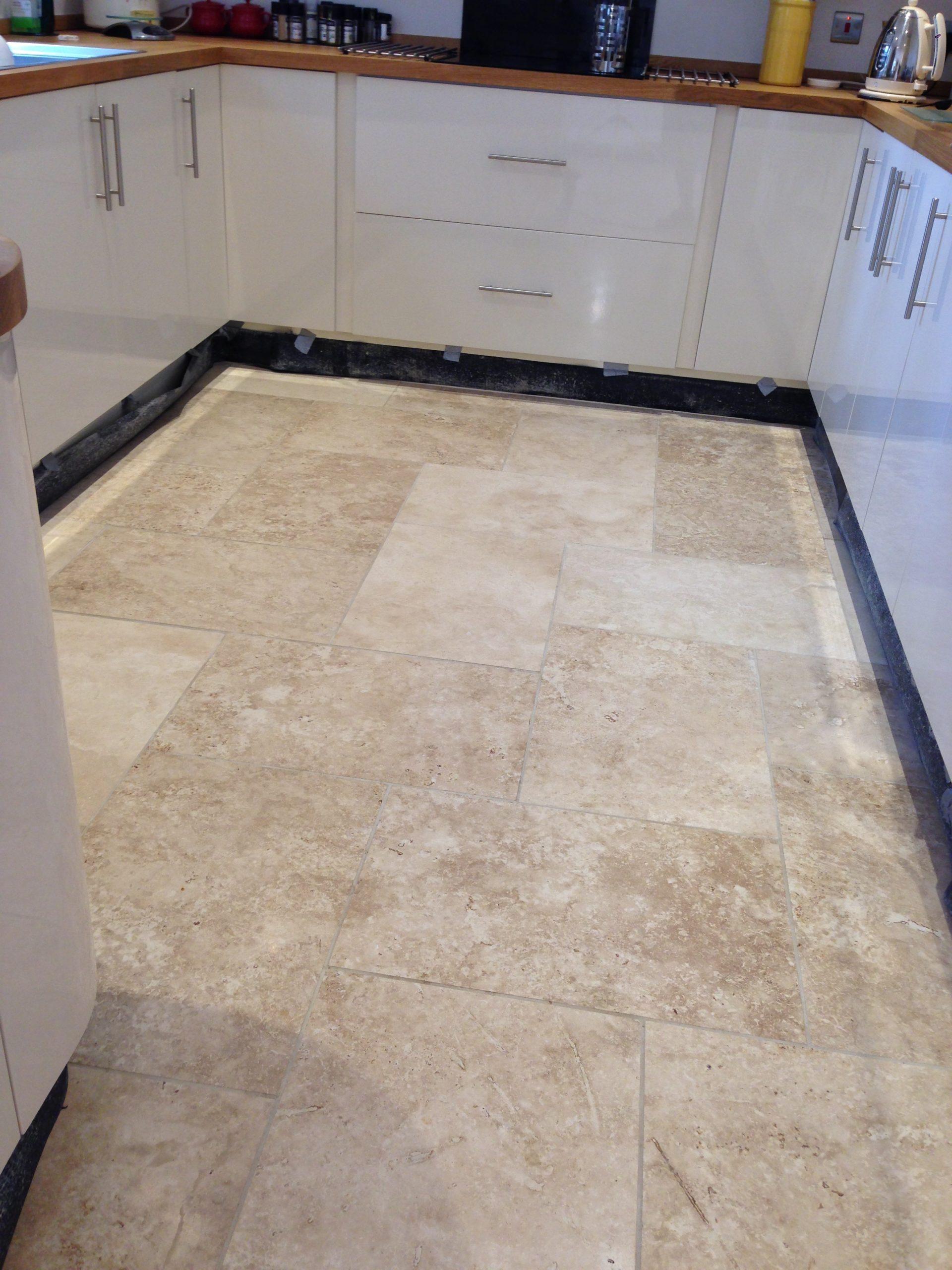 Cleaning Travertine kitchen floor Travertine kitchen floor tiles before cleaning & polishing1