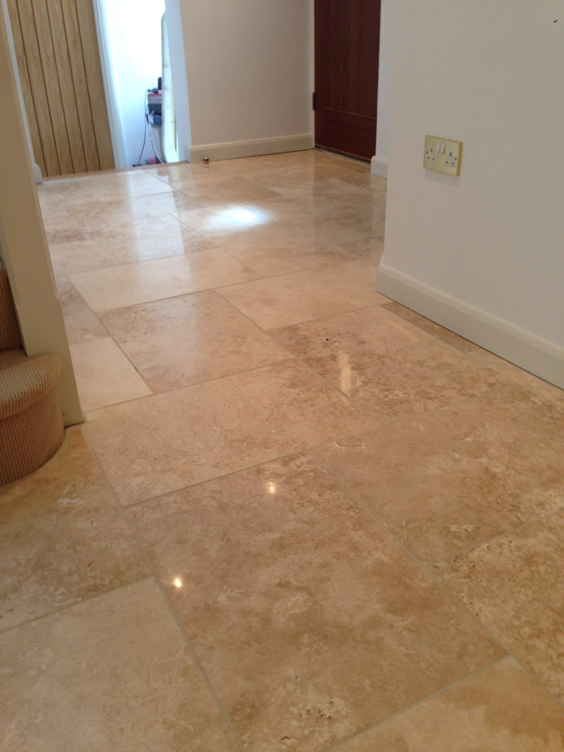 Travertine kitchen floor tiles after cleaning polishing2