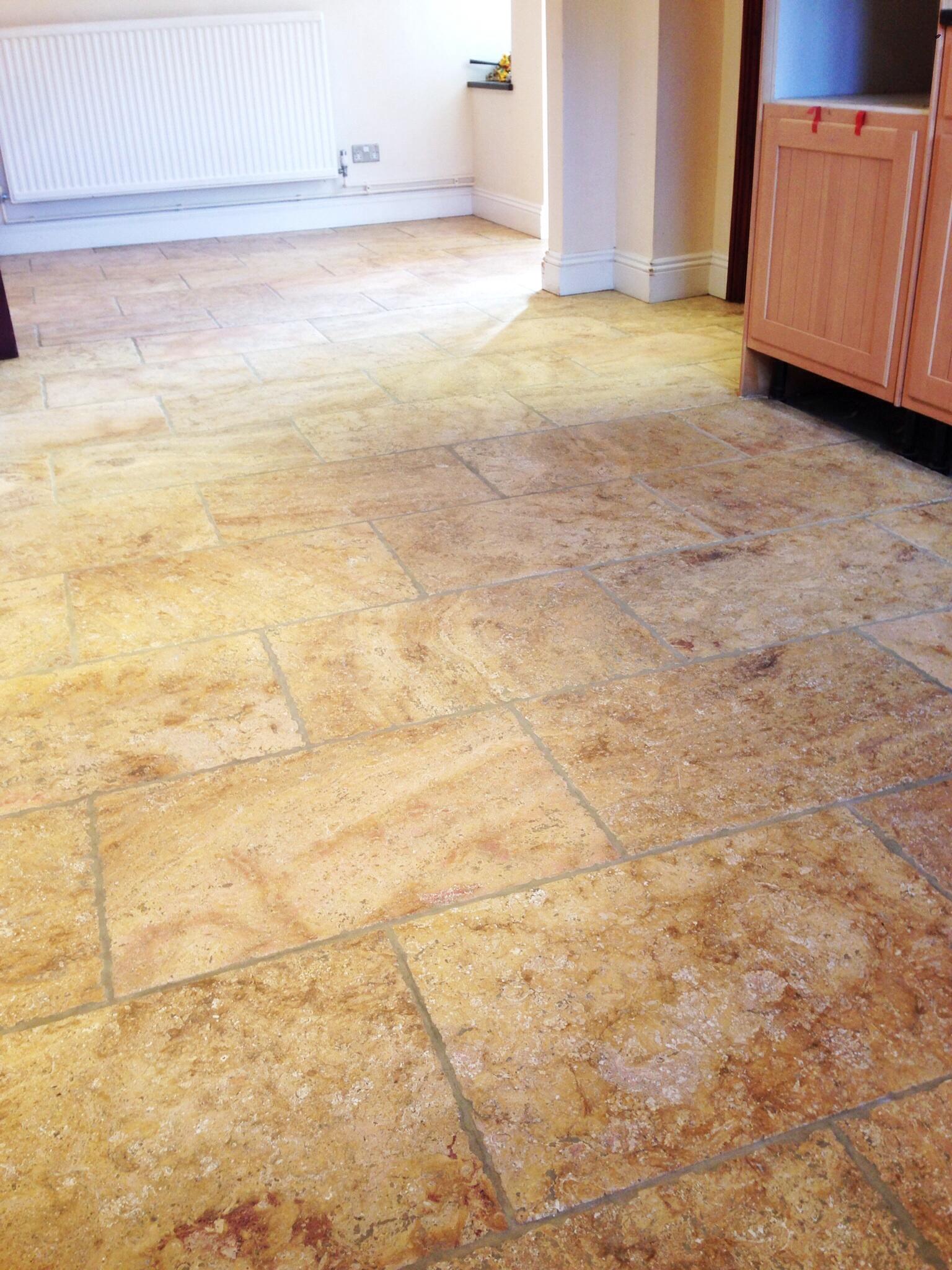 Limestone tiled kitchen floor AFTER restoration