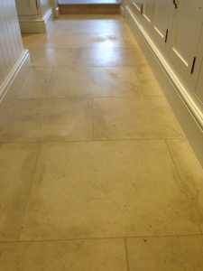 Limestone tiles before polishing