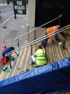 Restoring Portland Limestone city centre office stairway
