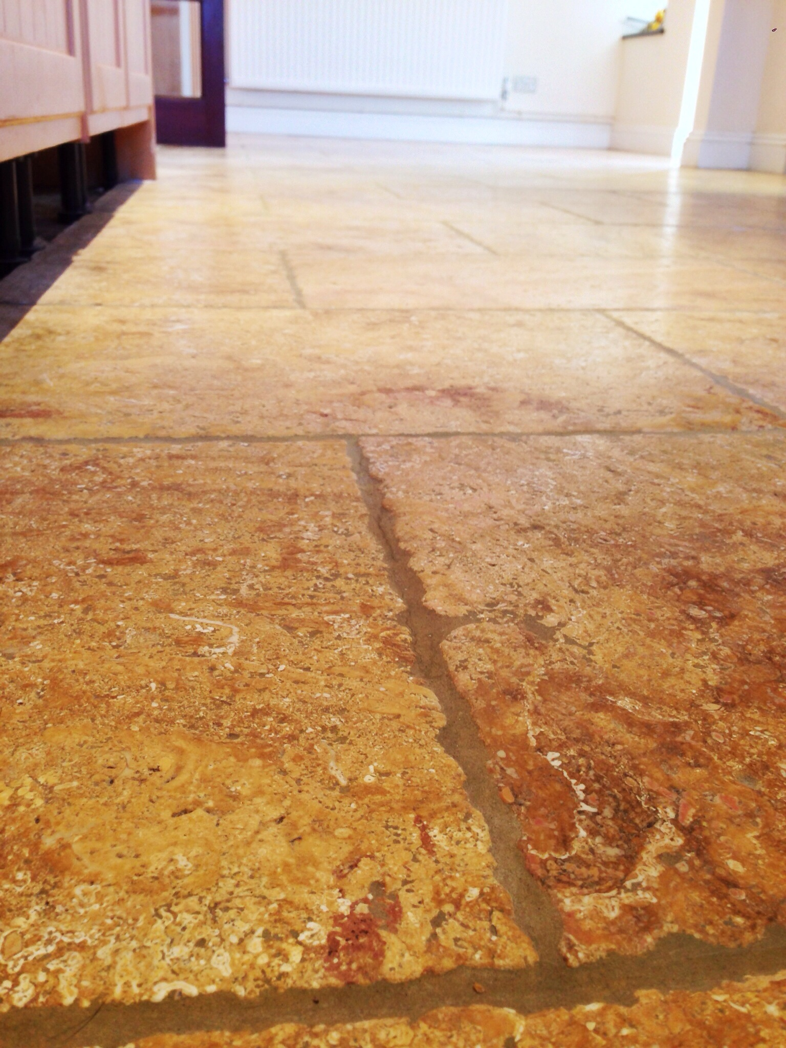 Limestone Kitchen Floor tiles, after professional cleaning