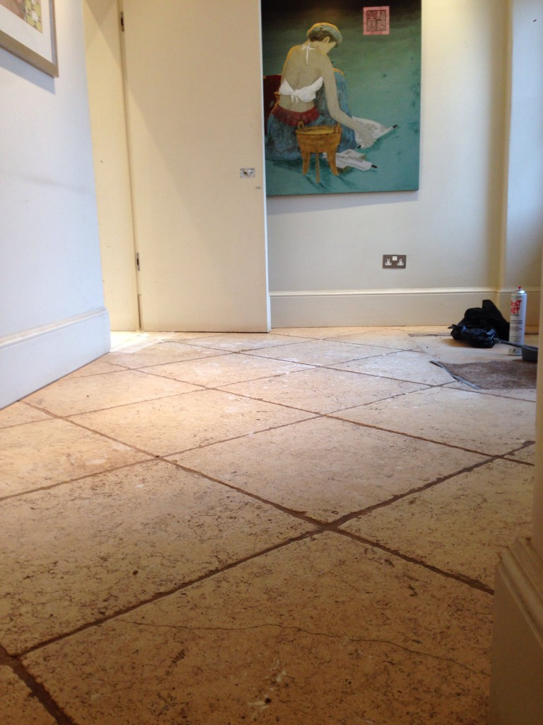 Grind a natural stone floor