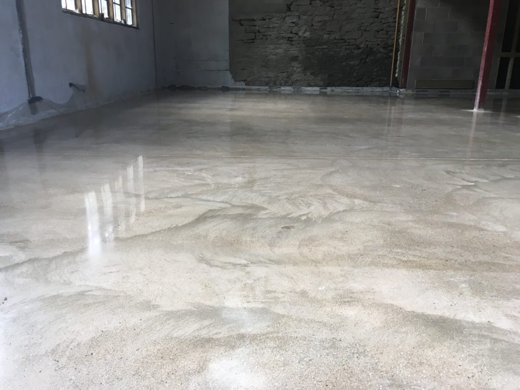 Polished concrete floor starting to shine