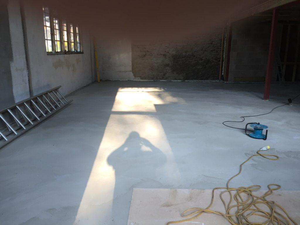 The concrete slab ready for polishing