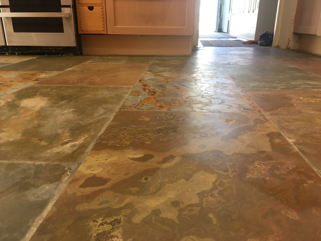 Riven slate floor cleaning