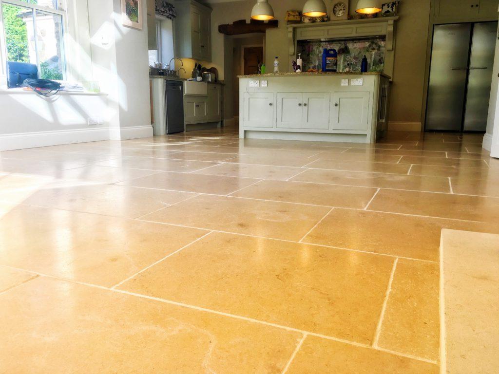 Limestone kitchen floor sealed & restored