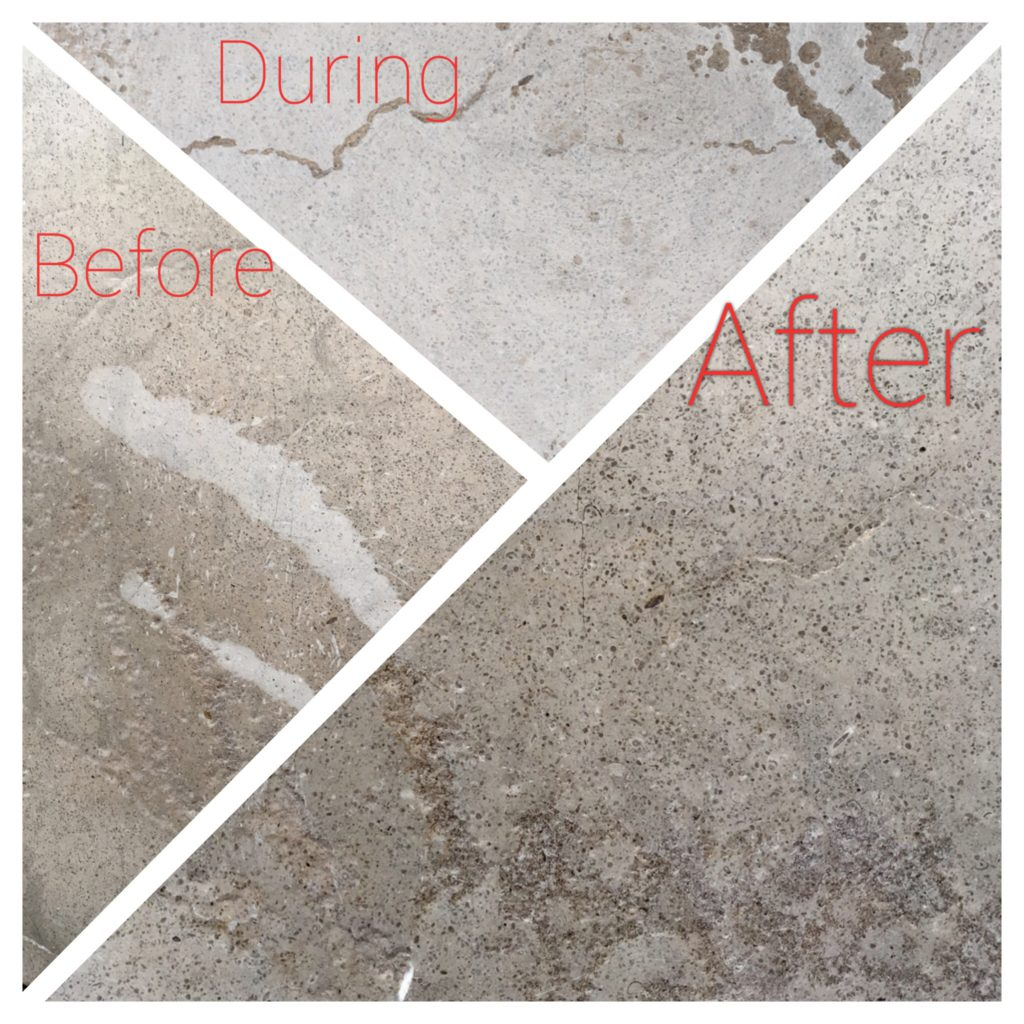 Limestone floor stain removal