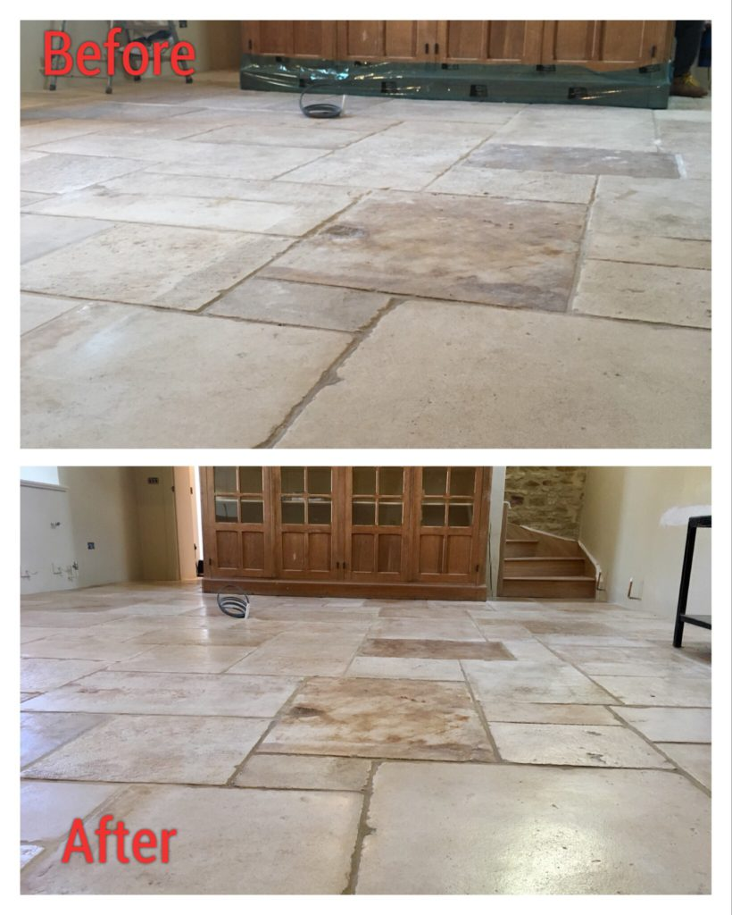 Sealing & polishing flag stones before and after