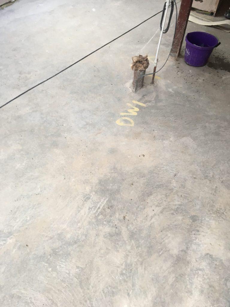 Concrete floor before polishing