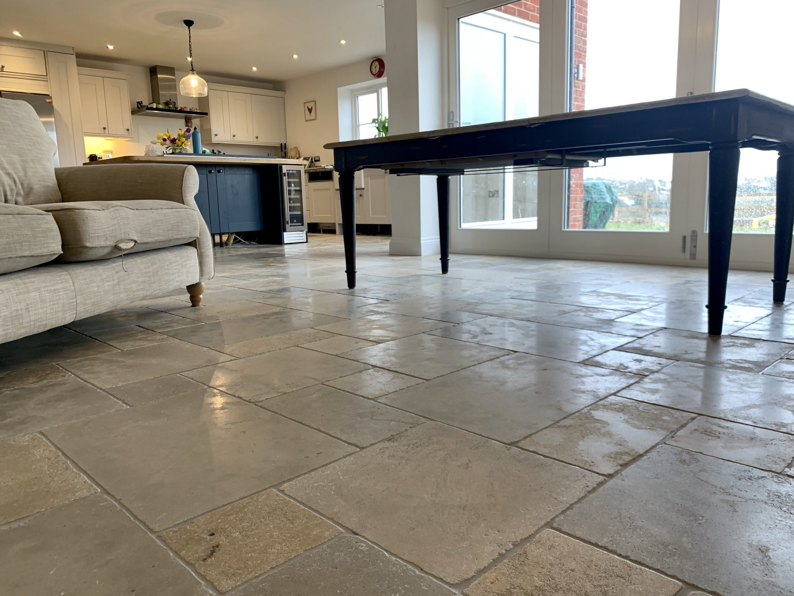 Limestone floor cleaning