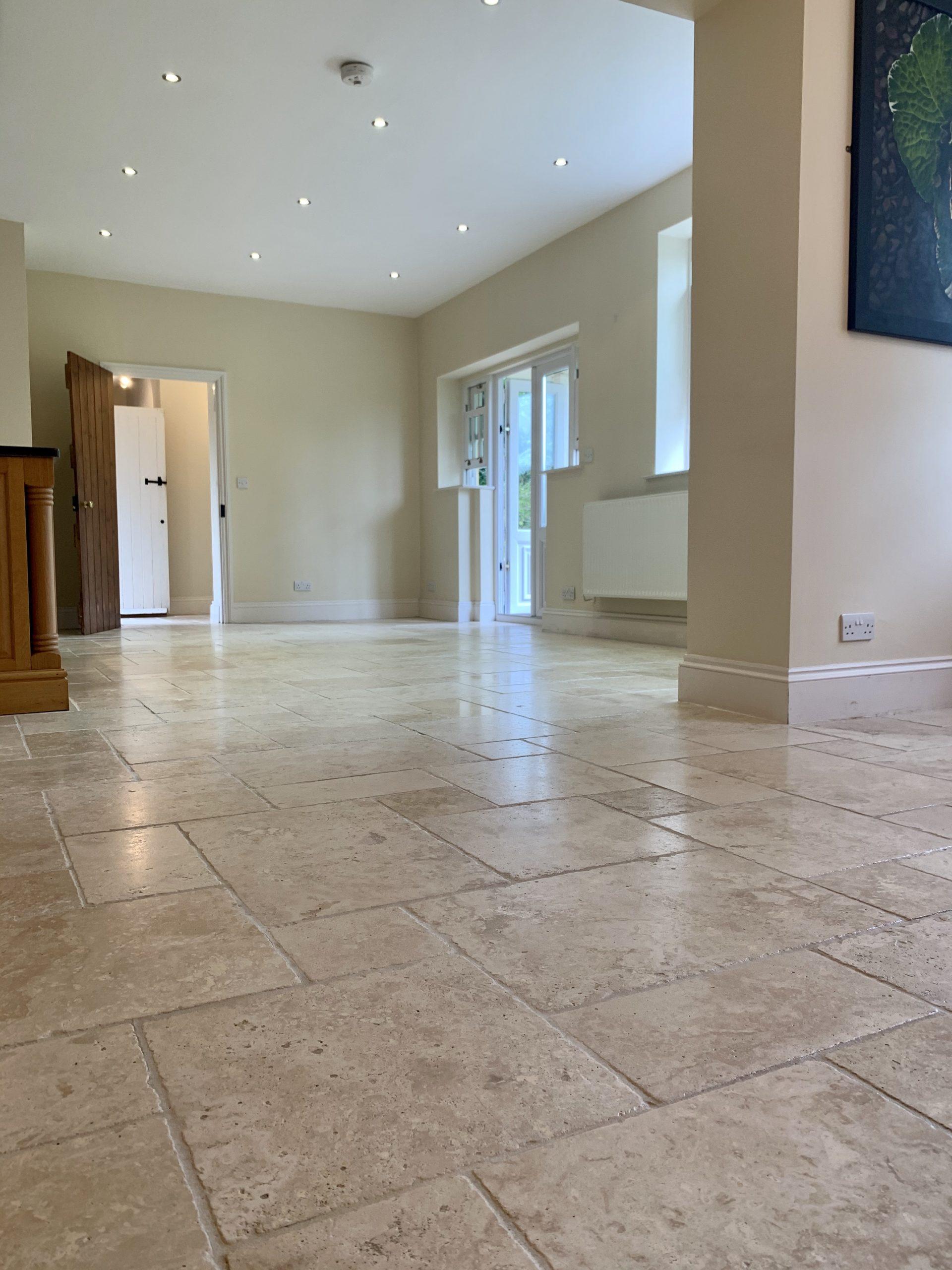 Travertine floor restoration after picture