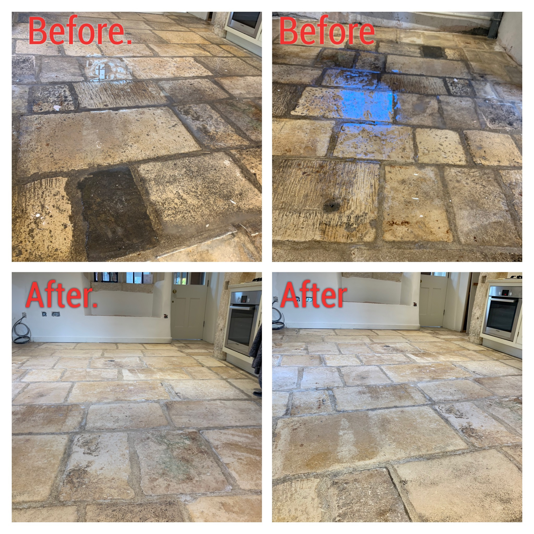 Flagstone restoration before and after pictures