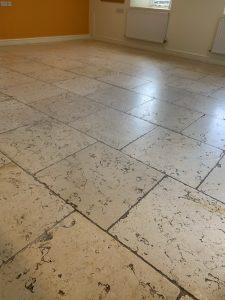 Travertine floor resurfaced - before picture