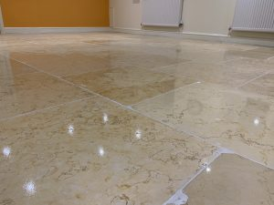 Travertine floor resurfaced - after picture