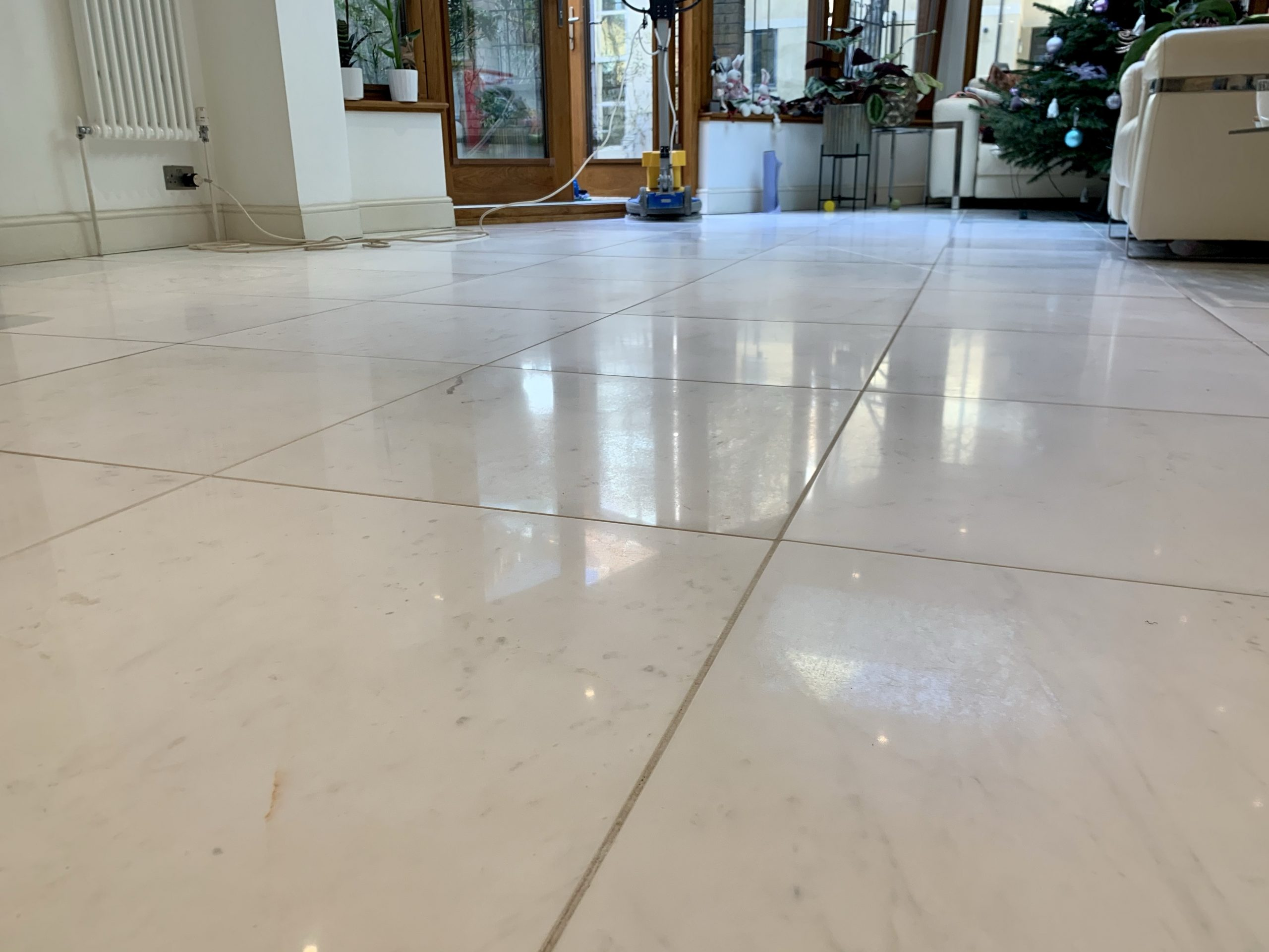 Marble floor restoration example photo